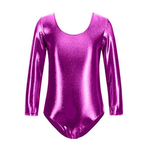 Maillot de Danza Ballet Gimnasia Leotardo Body Clásico Brillante Elástico para Niñas de Manga Larga Cuello Redondo (8 años, Fucsia)