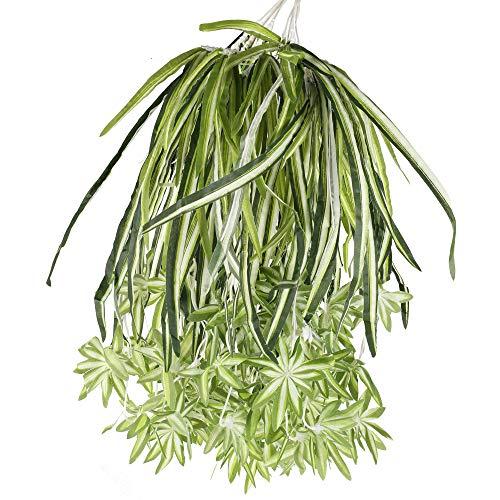 HUAESIN 2 Stück Künstliche Pflanzen Chlorophytum Comosum 65cm Kunstpflanze hängend Künstliche Hängepflanze Grün Plastik Pflanze für Balkon Garten Haus Hotel Hochzeit Wand Deko