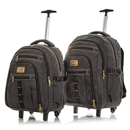 OR&MI. Set 2 mochilas maletas lona canvas premium.Maletas viaje multifuncional.Convertible mochila.Interior acolchado. Mochila trolley viaje casual unisex. 38x51x25 cm. Color GRIS OSCURO