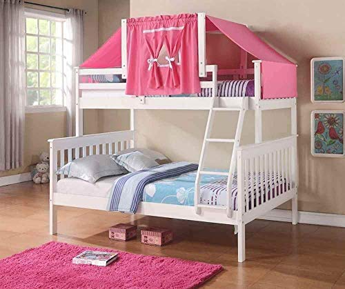 Donco Kids Mission Bunk Bed with Pink Tent, Twin/Full, White