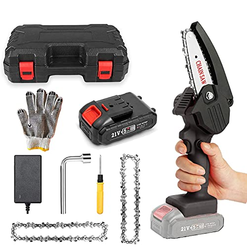 Mini Chainsaw, Dberhim Power Rechargeable Electric Handheld Cordless Little Chainsaw with 2 Chains and Glove for Tree Branch Wood Cutting