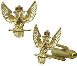 Scottish Rite 33rd Degree Wings Up Masonic Cuff links. Gold tone w/ color enamel Freemasons Symbol. Masonic Regalia Merchandise for the Lodge