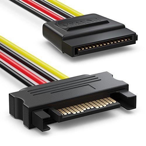 deleyCON SATA 3 Kabel Set 2X SATA III Kabel mit Stecker Gerade + Y Strom Adapter Kabel - SSD HDD Festplatte