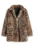SweatyRocks Women Khaki Hooded Dolman Sleeve Faux Fur Cardigan Coat for Winter (Small, Leopard)