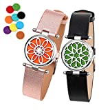 ttstar 2PCS Aromatherapy Essential Oil Diffuser Bracelet Adjustable Genuine Leather Wristband Bracelet with 20 Refill Pads Diffuser Bracelet Gift Set for Women and Girls
