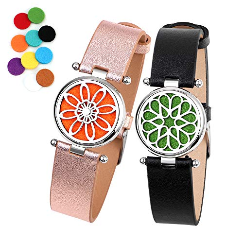 Women's Wrap Bracelets Diffuser Bracelet, ttstar 2PCS Aromatherapy Essential Oil Genuine Leather Diffuser Bracelet with Fill Pads for Women And Girls