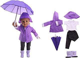 """FenglinTech 6PCS Raincoat Clothes Set with T-Shirt, Pants, Rain Boots, Hat and Umbrella for Rainy Day for 18"""" Girl Dolls -..."""