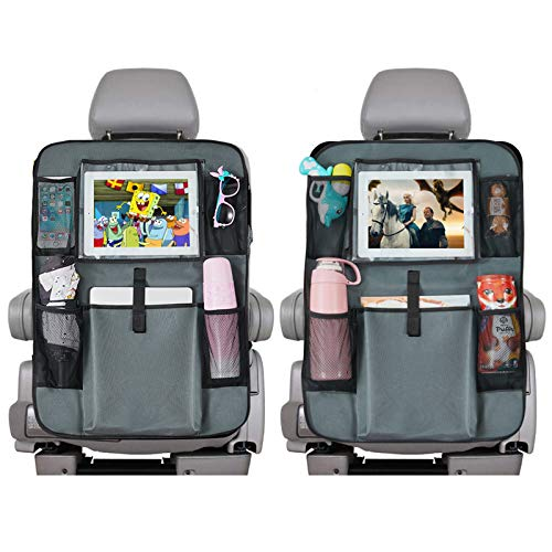 """DSKKWS Backseat Car Organizer, Kick Mats Cover Car Seat Protector with Touch Screen 10"""" Ipad Holder +5 Storage Pockets Vehicle Travel Interior for Kids(Gray 2 Pack)"""