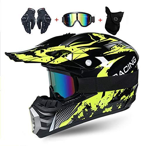 LEENY - Casco de motocross, para niños Full Face con gafas de protección, guantes, máscara, casco integral Enduro Downhill Quad casco de moto BMX MTB casco de bicicleta M (54~55 cm)