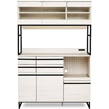 moca company CLOUDEAR キッチンボード レンジ台 食器棚 大型レンジ対応 スライド コンセント付き おしゃれ 幅120 ホワイト kcm-002-wh