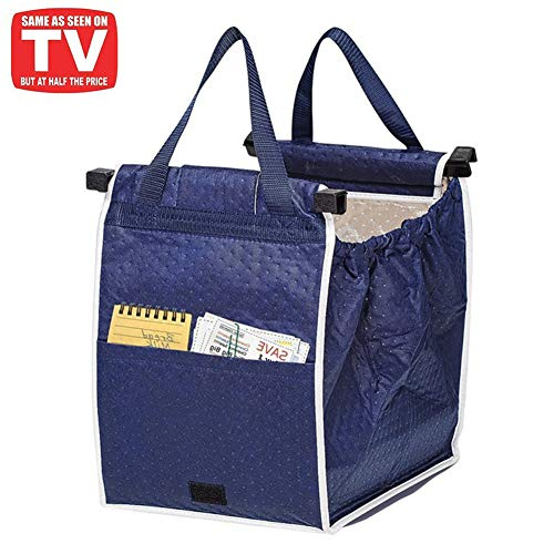 Insulated Reusable Grab and Go Bag Shopping Trolley Bag Collapsible Grocery Tote Bags with Handles, Clip on Shopping Cart As Seen On TV
