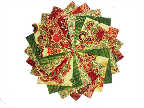 10 10 Inch Vivid Christmas Cheer Quilting Squares Pack by Paintbrush, EBI & Riley Blake Fabrics 5 colorways
