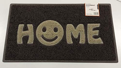 Nicoman Home Smiley Face Vinyl Schlingen Fußmatte, Vinylschlingen, Braun mit beige Einsätzen, 75x44cm