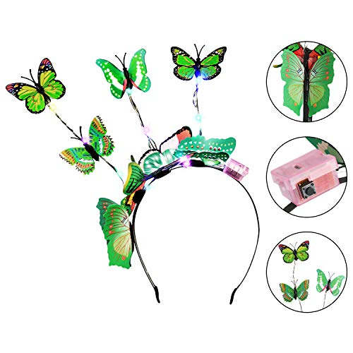 JUSTDOLIFE Bandeau de fête Creative Butterfly 14-LED Light Up Hair Hoop Party Hair Band