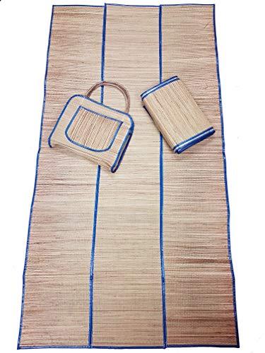 Bolsa Com Esteira De Praia De Palha Natural Várias Cores (Azul)