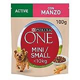 Purina One Umido - Mini bocinas de Salsa Activa con Ternera, Patatas y Zanahorias, para Perros de hasta 10 kg, 20 Sobres de 100 g Cada uno, 20 Unidades de 100 g