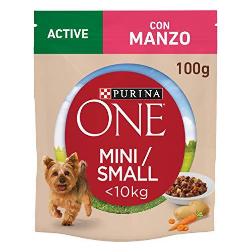 Purina One Umido Cane Mini Bocconi in Salsa Active con Manzo, Patate e Carote, per Cani fino a 10 kg, 20 Buste da 100 g Ciascuna, Confezione da 20 x 100 g
