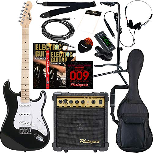 SELDER セルダー エレキギター ストラトキャスタータイプ サクラ楽器オリジナル ST-16M/BK 初心者入門13点セット