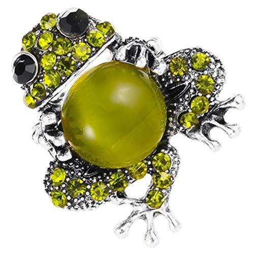 Timagebreze Conjunto de Joyas con Colgante de Rana Verde de Dise?o CláSico para Mujer, Fiesta Elegante, Regalos, Anillo