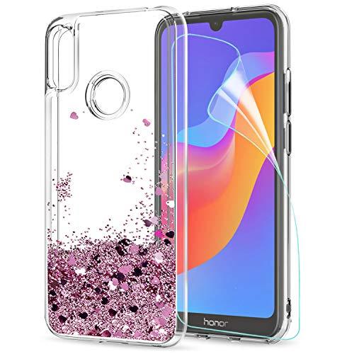 LeYi Hülle Huawei Y6 2019/Honor 8A Glitzer Handyhülle mit HD Folie Schutzfolie,Cover TPU Bumper Silikon Clear Schutzhülle für Hülle Huawei Honor 8A/Y6 2019/Y6 Pro 2019 Handy Hüllen ZX Rot RoseGold