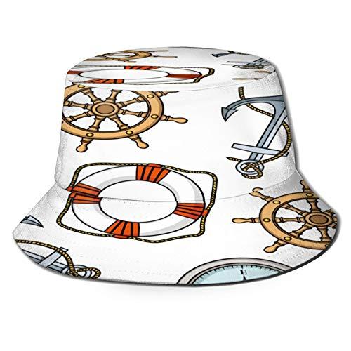 Yoliveya Sombrero de Pesca,Patrón Vector con Anclas Salvavidas Buques Ruedas,Senderismo para Hombres y Mujeres al Aire Libre Sombrero de Cubo Sombrero para el Sol