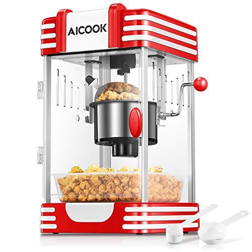 Machine à Popcorn, AICOOK Chaud Beurre Machine à Pop Corn avec Rétro Lumière, Revêtement Antiadhésif, Système de Mélange, Plateau de Pop-corn, Convient pour la Soirée Cinéma et Noël, Rouge