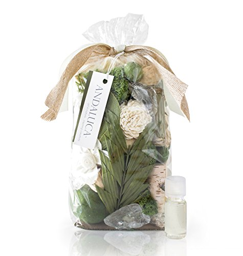 ANDALUCA Gardens of Bali Scented Potpourri | Made in California | Large 20 oz Bag + Fragrance Vial | Scents of Crushed Jasmine Leaves, Tangelo Peel and Lily