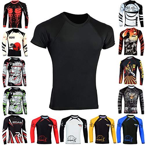 Roar BJJ Rash Guards MMA Grappling Jiu Jitsu Training No Gi Fight Wear Shirt UFC (Simple Black, Medium)