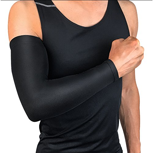Ruiting Manga del brazo de protección UV, manguito del brazo elástico y transpirable, Protección del brazo para ciclismo, baloncesto, fútbol, acampar, etc.-Negro, XXL