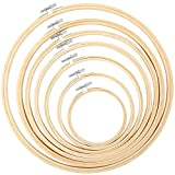 Pllieay 7 Pieces 7 Sizes Embroidery Hoops 4 inch to 12 inch Bamboo Circle Cross Stitch Hoop Rings for Craft Sewing and Ornaments