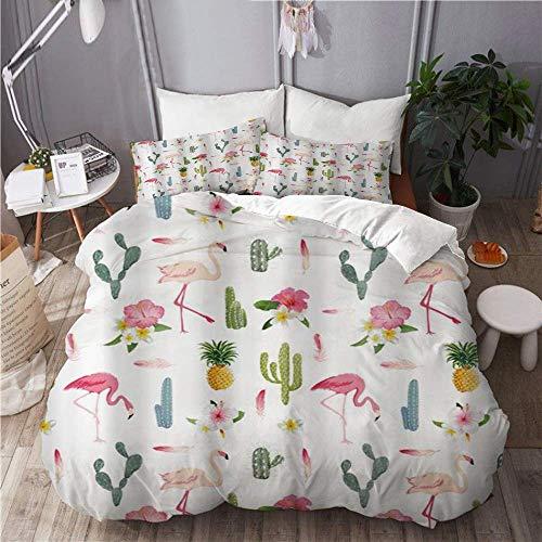 Juego de funda nórdica de 3 piezas de fácil cuidado y 2 fundas de almohada, flores tropicales, flamenco, pájaro y piña en flor de cactus, elegante funda de edredón de microfibra de calidad de lujo