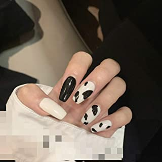 Sither 24 Pcs Design False Nails Medium False Tip Nails with Cow Pattern Fake Tips Art Fingernails Clip on Nail for Women ...