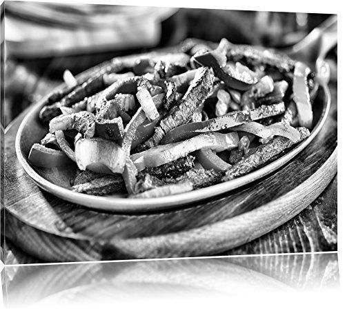 Monocrome, Fleischpfanne mit Paprika, Format: 100x70 auf Leinwand