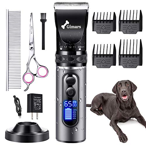 Gimars Professional 6500rpm Low Noise 50db Cordless Rechargeable Dog Clippers, Newest 3.0 Motor Powerful Dog Long Hair Trimmer Grooming Shaver Kit, Electric Pet Hair Clippers for Cat, Dog, Horse