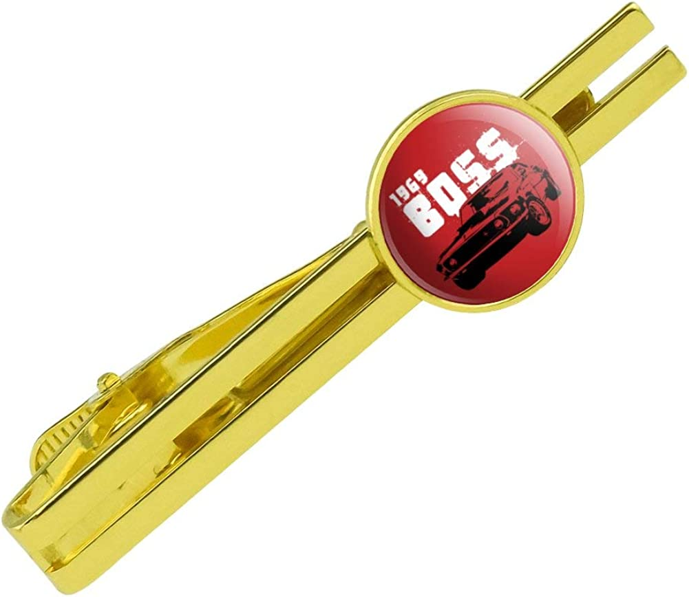 GRAPHICS & MORE Ford Mustang 1969 Boss Round Tie Bar Clip Clasp Tack Gold Color Plated