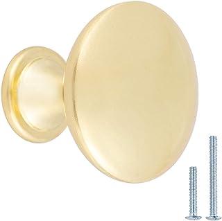AmazonBasics - Pomo de armario, 3 cm de diámetro, latón cepillado, AB100-BB-10