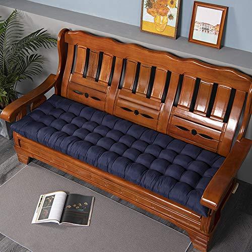 Cojín para banco de jardín, suave, para exteriores, para silla de columpio, cojín largo para el hogar, oficina, sofá, patio, (48 x 120 cm), color azul marino