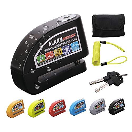 Candado Moto con Alarma, 110dB 6mm Pushdown Lock Pin Impermeable Antirrobo Candado de Disco de Acero Inoxidable con Cable de Seguridad y Bolsa para Motocicleta Bicicleta E Scooter (Gris)