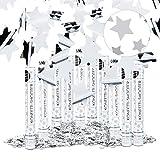 Relaxdays 10er Set Party Popper Silber 40 cm, Sternenregen bis 8m Effekthöhe, Konfetti Kanone für...