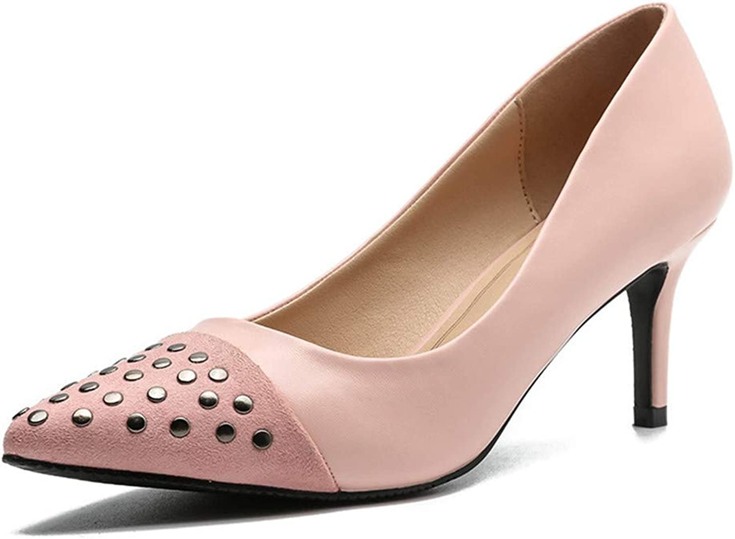 Meiren Pumps Autumn Studded Casual shoes Pointed Stiletto Shallow Heels Pink