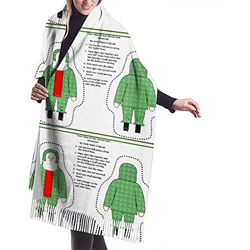 Cathycathy Christmas Crazy Claus voor je diensten, snijden en naaien pop sjaal wrap winter warme sjaal cape grote zachte sjaal wrap