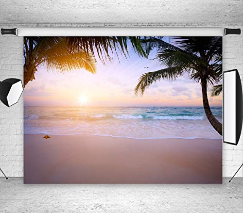 LB Tropical Beach Photography Backdrop 7x5ft Vinyl Hawaiian Sunset Backgrounds for Wedding Moana Theme Birthday Party Portraits Photo Booth Backdrop