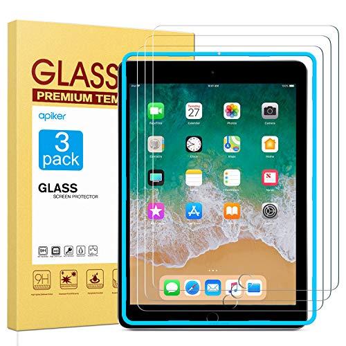 [3 Stück] Apiker Schutzfolie für iPad 2018/iPad 2017/iPad Pro 9.7/iPad Air 2/iPad air, iPad 9.7 Panzerglas mit 9H Härte, Bläschenfrei, 2.5D abgerundet Kante, einfach anzubringen