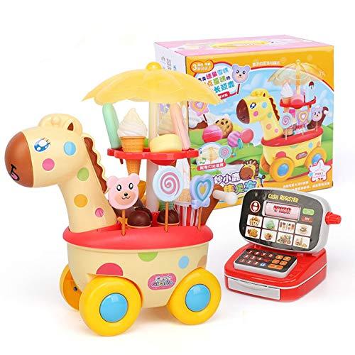DBSUFV Mini carrito de simulación para niñas y niños, coche de dulces, tienda de helados, supermercado, juguete para niños, carrito de helados