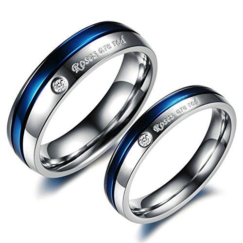 Adisaer Trauringe Paare Ring Silber Herren Paar Ringe Edelstahl Ehering Blau Silber Ring Roses Are Red Zirkonia Herrenring Größe 62 (19.7) Damenring Größe 52 (16.6) Hochzeit
