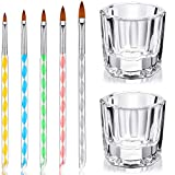 7 Pieces Art Manicure Care Tools Include 2 Nail Art Clear Glass Crystal Cup Bowl Dappen Dishes Cup and 5 Acrylic Design 3D Painting Drawing UV Gel DIY Brush/Pen Set for Christmas and Halloween