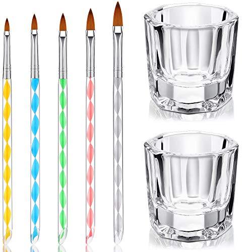 7 Herramientas de Cuidado Manicura incluye 2 Platos Vasos de Cristal de Arte de Uñas y 5 Pinceles de Uñas de Acrílico Gel Diseño 3D para Acrílico Líquido Herramienta de Diseños para Uñas