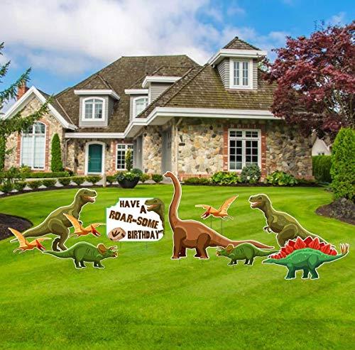 VictoryStore Birthday Yard Decoration, Dinosaur Birthday Decorations, Have A Roar-Some Birthday, Stakes Included, 10pc Set, 13478