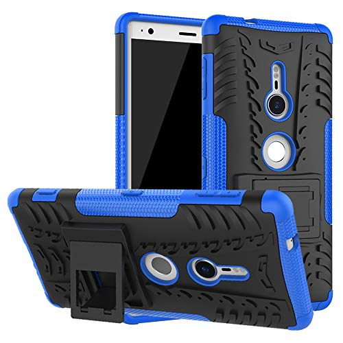 LiuShan Sony XZ2 Funda, Heavy Duty Silicona Híbrida Rugged Armor Soporte Cáscara de Cubierta Protectora de Doble Capa Caso para Sony Xperia XZ2 Smartphone(con 4 en 1 Regalo empaquetado),Azul