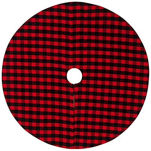 CXDY Plaid Christmas Tree Skirt Ornament 48inch Diameter Christmas Decoration New Year Party Supply
